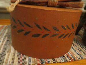 Primitive Folk Art Papier Mache Box Hand Stenciled