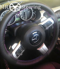 FOR MAZDA MX5 MK3 05-14 BLACK ITALIAN LEATHER STEERING WHEEL COVER PURPLE STITCH