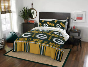NFL Green Bay Packers Twin 4-Pcs Comforter Bedding Team Logo Bed In Bag Set NEW.