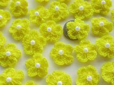 100! Crochet Wool Flowers With Pearls - Lemon Yellow Flower Embellishments