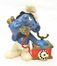 Smurf Schleich Peyo Rotary Phone Telephone Hong Kong 1980 Collectible Vintage
