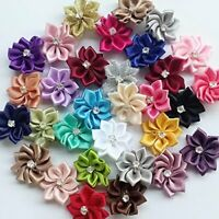 10-50Pcs Satin Ribbon Flower w/Crystal Bead Appliques-U pick DIY Craft Supplies