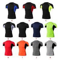 Women Men Short Sleeve Sport Yoga T Shirts Blouse Quick Dry Fitness Gym Tops USA