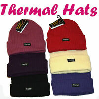 Ladies knitted Thermal Fully Fleece insulated Chunky Hat Winter Ski 40gm