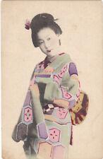 1900s Pretty Asian Japan Girl Lady Coloured Portrait of a Geisha On Postcard