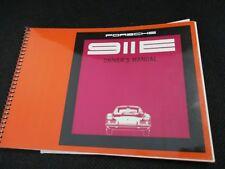 NEW Porsche 1969 911-E Original Drivers Manual  2.0 liter W 363-E-1500-01-69 NOS
