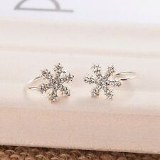1pair Earrings Silver Clip-on Snowflake Pendant Ear Cuff Clip Rhinestone Gifts