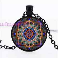 Sri Yantra Flat Photo Cabochon Glass Black Chain Pendant Necklace