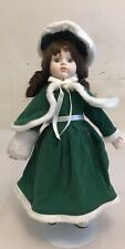 Vintage Porcelain And Body Fabric Doll 15� With Stand