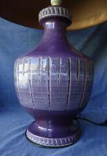 Huge Retro Vintage Ceramic Table Lamp, Mid Century Modern, Purple 1960s