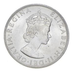 Choice BU Unc 1964 Bermuda 1 Crown Silver Coin - Mint State *781