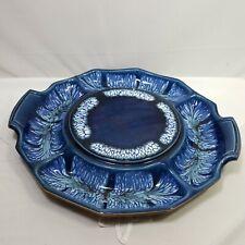 """Sequoia Ware Vintage Cheese Snack Plate Platter Blue Vintage 13.5"""" Diameter"""