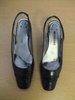 Ladies Court Shoes Adesso black patent leather sling-back UK 6, EU 39, used 3235