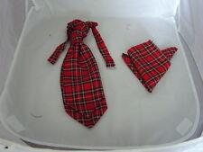 (B)Tartan Royal Red Stewart BOYS Polyester Scrunchie Ruche Cravat and Hankie Set