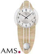 AMS 7420 Wall Clock Quartz with Pendulum Wooden Housing Sonoma Look