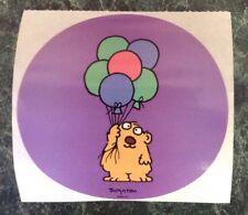 "Vtg Sandra Boynton Lrg 4"" Round Sticker~Bear~Balloons~Birthday Party~80s Cartoon"