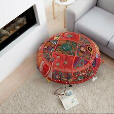 "18"" Indian Red Patchwork Floor Cushion Cover Vintage Round Floor Pillow Case"
