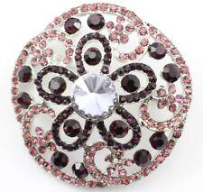 Wedding Bridal Brooch Pin Purple Floral Austrian Rhinestone Crystal