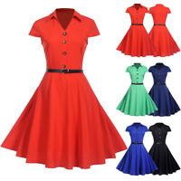 Women Vintage Short Sleeve Evening Solid Party Prom Swing Elegant Mini Dresses