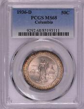 1936 D Columbia 50C PCGS MS68 Commemorative Half Dollar SUPER GEM Registry!
