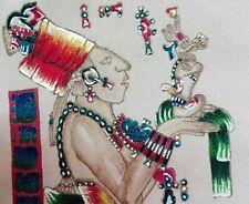 dipinto a mano su pelle incisa,Perù Maya, Chan Bahlum
