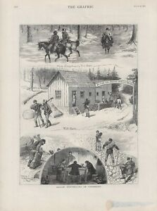 OLD ANTIQUE 1881 PRINT AMERICA IMAGES OF ROUGH TRAVELLING IN COLORADO b157