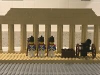 Lego Imperial Soldiers x 3 with silver bayonets plus custom cannon and ammo box