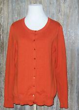 Talbots Pima Cotton Blend Long Sleeve Orange Cardigan Sweater Womens Size MP