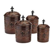Kitchen Canister Set Copper 4 Piece Vintage Fleur De Lis Storage Container Jar