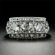 Women Inlaid White Topaz Crystal Rings 925 Sterling Silver Sparkling Engagement