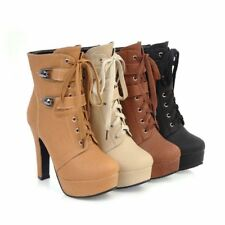 Lady's High Heel Synthetic Leather Zip Ankle Boots Platform Plus Size Shoes O313