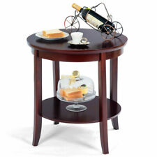 Round Wood End Table Sofa Side Coffee Table Storage Shelf Cherry Finish New