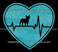 VRS Heartbeat Heart Dog French Bull Dog Puppy Rescue Adoption CAR METAL DECAL