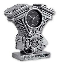 Genuine Harley Davidson Scuplted Resin Engine Clock Aged Silver Finish 99202-17V