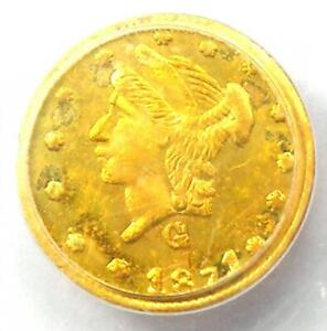 1871 Liberty California Gold Quarter 25C Coin BG-840 - PCGS MS62 (BU UNC)