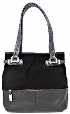 B. Makowsky Suede and Leather Tote Bag Python Embossed Trim Collins Purse Black
