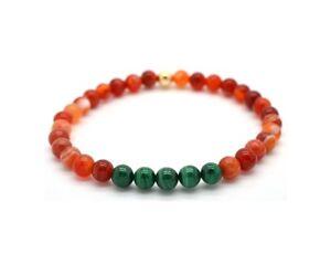 Mens Ladies Bead Bracelet Malachite and Carnelian 9ct Gold Bead Handmade