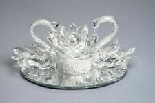 A Beautiful Pair Of Loving Swan LED illuminated Crystal filled Lotus Ornament_UK