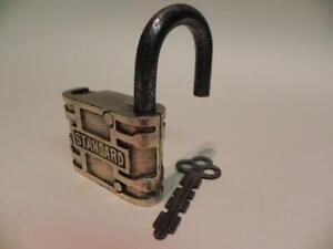 Antique Padlock. Standard. Brass. 1904. Original Key.  (284)