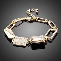 Made With Champagne Gold Swarovski Crystal Rhinestone Chunky Bracelet Women Gift