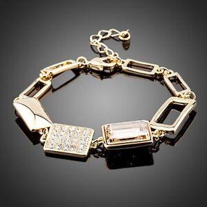 Statement Bracelet Chain / Link Made With Gold Swarovski Crystals Rhinestones