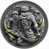 NIZARIS-ASSASSINS 2 oz silver coin ultra high relief antiqued 24K Gilded 2019