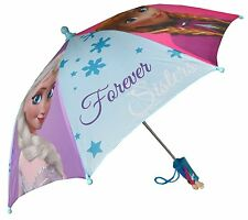 "Disney Frozen Forever Sisters Girls 21"" Umbrella w/Handle of Anna & Elsa"