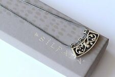 Silpada Sterling Silver Curved Floral Slide Pendant Wheat Chain Necklace N1472
