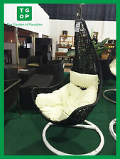 Brand New Outdoor Swing Egg Trapeze Wicker Rattan Hanging Basket Chair Black