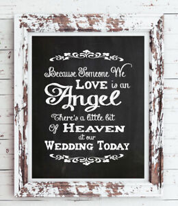 Wedding Decor MEMORIAL Print, Rustic Look Loved One in Heaven 8x10 CARDSTOCK