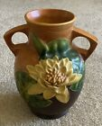 """1945 Roseville Water Lily Brown Double Handled Vase 77-8"""" Beautiful!"""