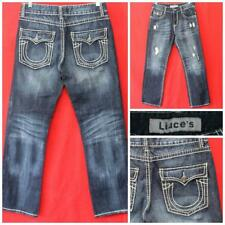 Liuce's Mens 32 x 33 Blue Bootcut Jeans Distressed, Stitching Accents  MAR-16