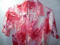 WOMENS PINK WHITE CORAL IVORY CASUAL HAWAIIAN ALOHA ISLAND TOP SHIRT SIZE S 38