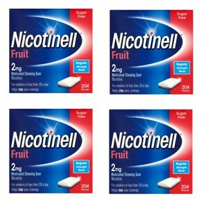Nicotinell gum stop smoking aid fruit 2mg 204 pieces 4 x pack